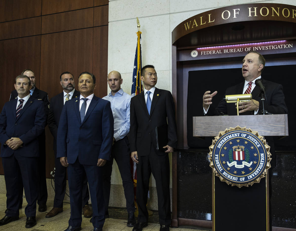 Special Agent in Charge Aaron Rouse of the FBI Las Vegas Field Office speaks about a global law ...