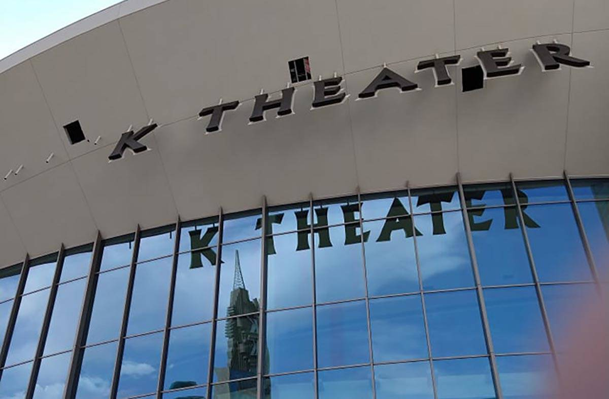 The incomplete Park Theater sign at Park MGM is shown on Tuesday, July 13, 2021. (John Katsilom ...