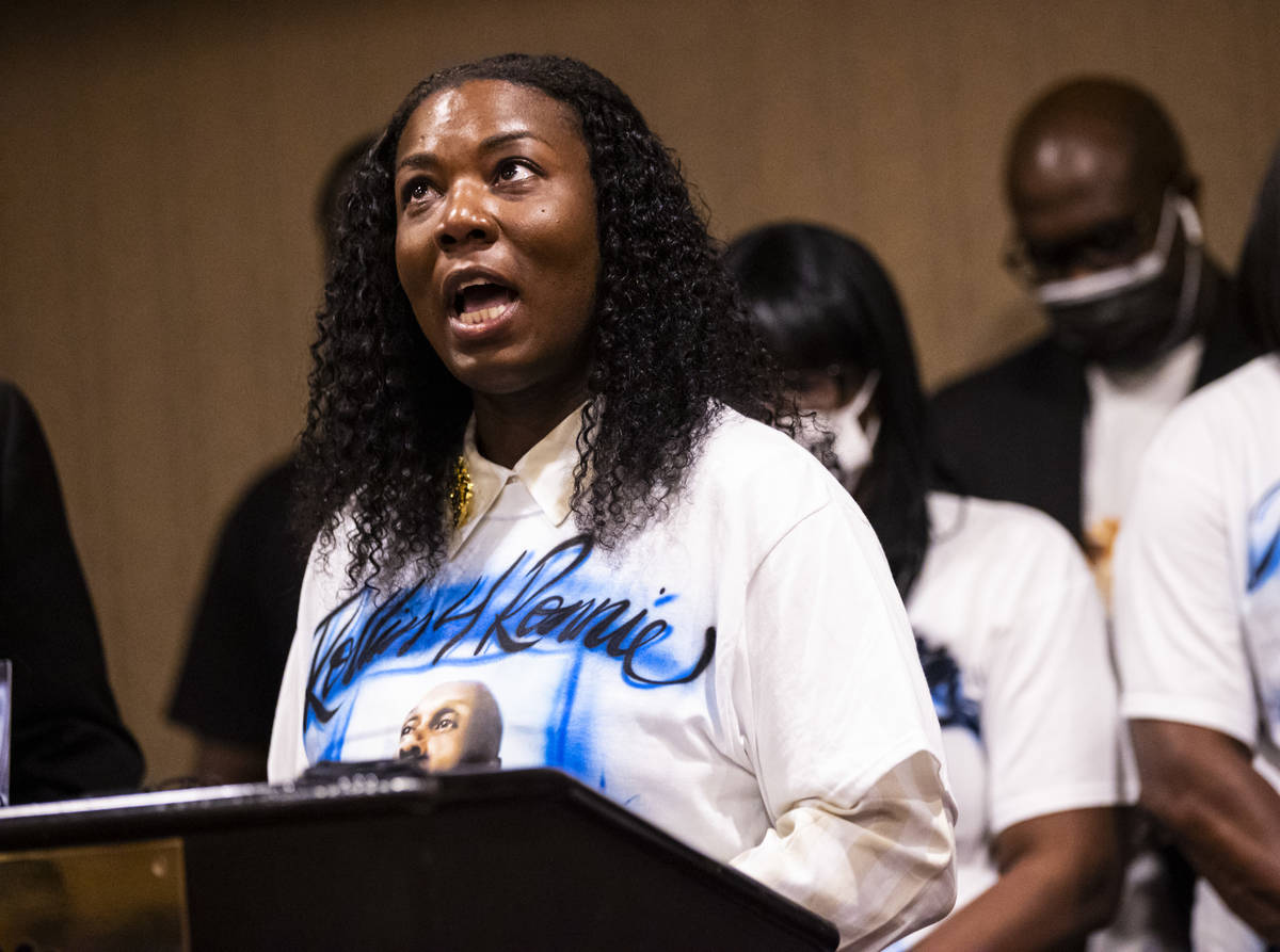 Teena Acree, niece of Byron Williams, speaks during a news conference announcing a lawsuit agai ...