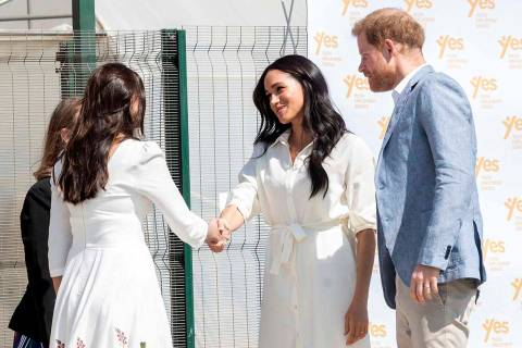 Britain's Prince Harry and Meghan, Duchess of Sussex visit a Youth Employment Services Hub in M ...