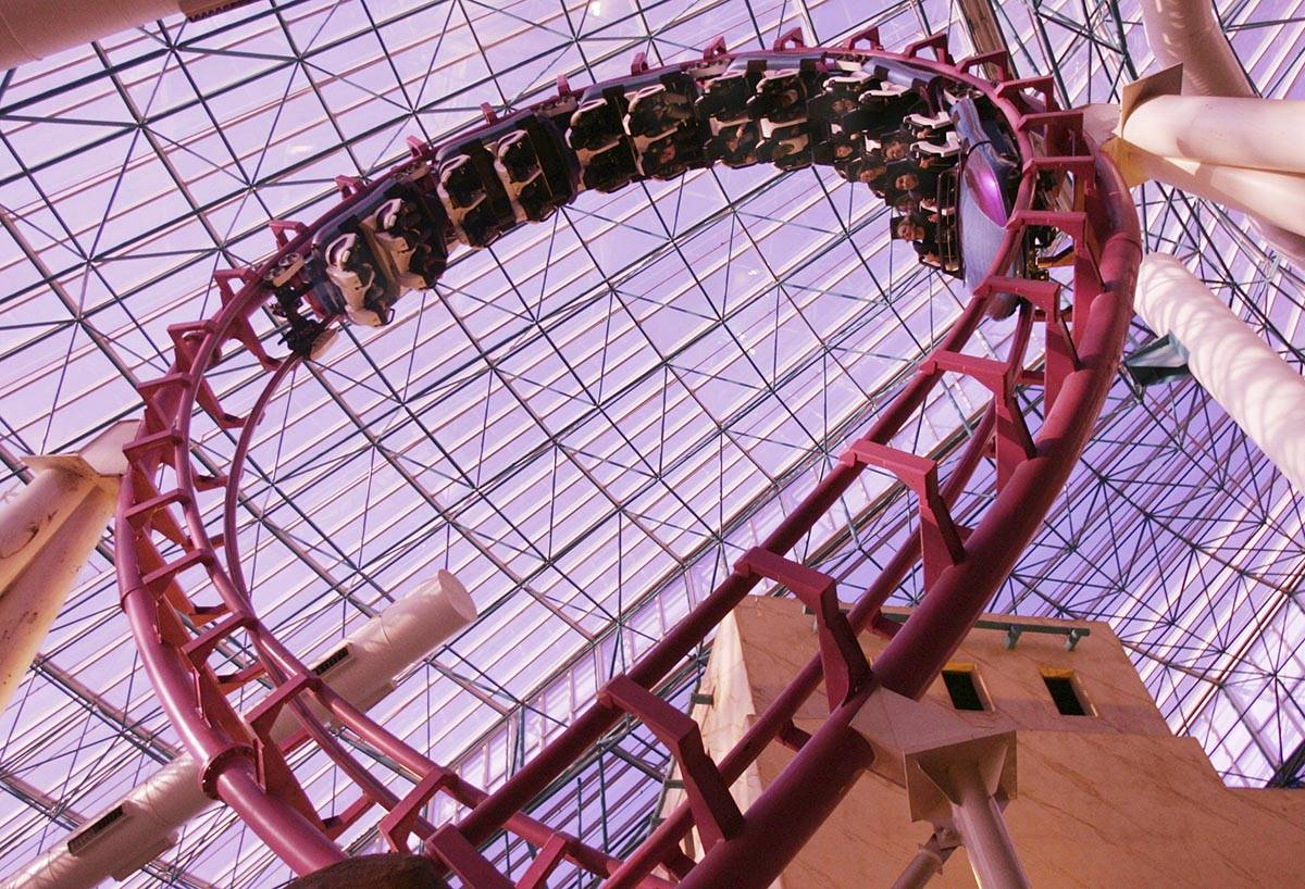 Adventure Dome roller coaster at Circus Circus. (Craig L. Moran/Las Vegas Review-Journal)
