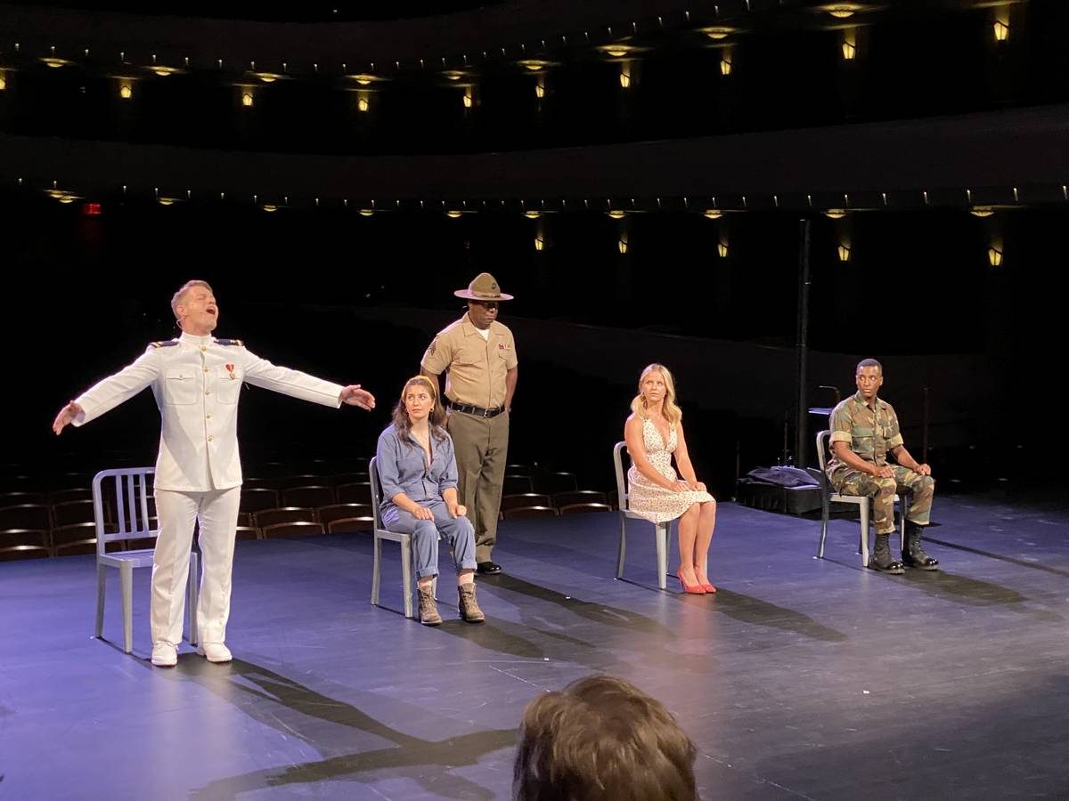 """The cast of """"An Officer and a Gentleman"""" performs a preview of the new touring musical at Reyno ..."""