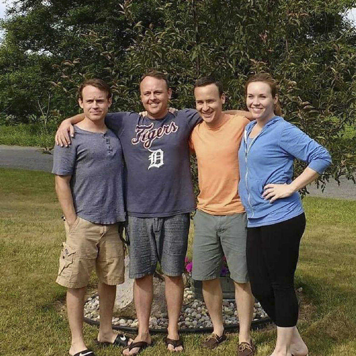 This August 2017 provided by the family shows Jordan McGlashen, left, and his siblings, Brandon ...