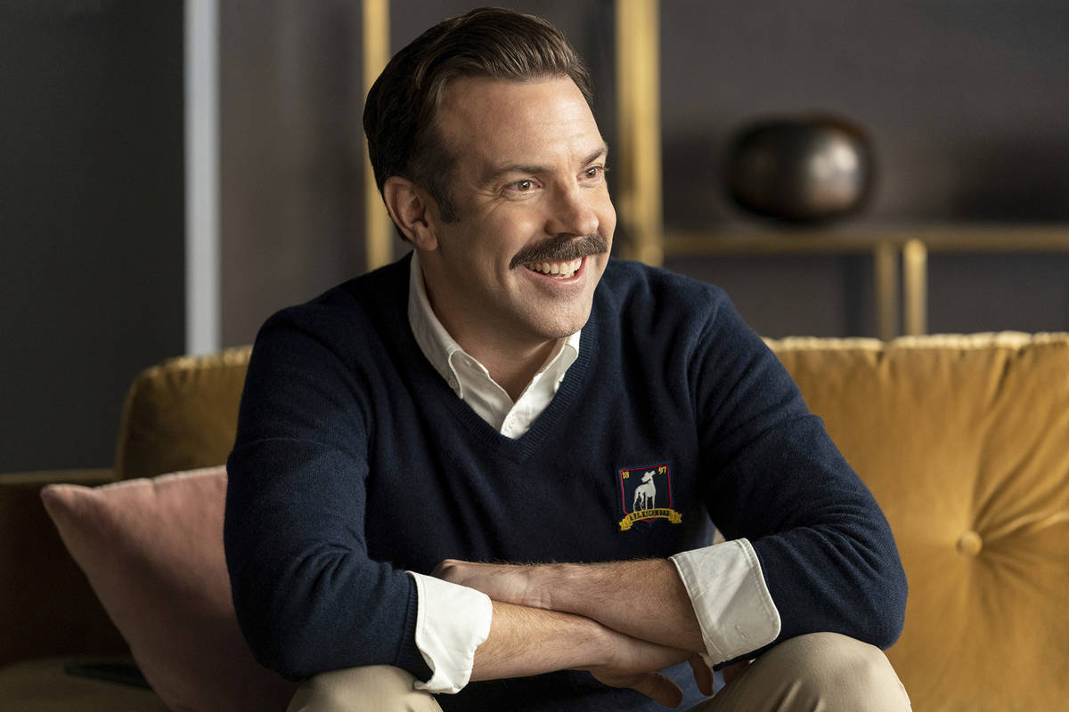 """This image released by Apple TV+ shows Jason Sudeikis in a scene from """"Ted Lasso."""" Se ..."""