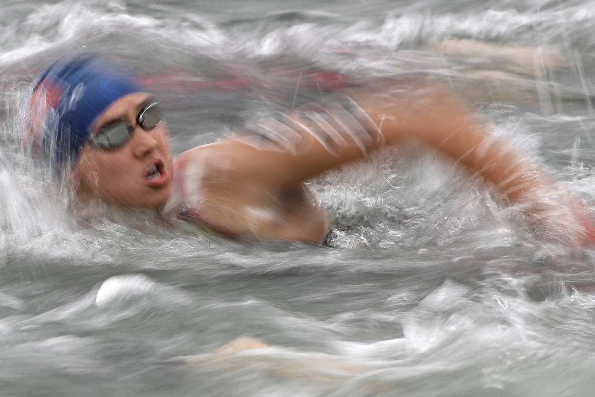 Erica Sullivan of the United States competes in the womens 25km open water swim at the World Sw ...