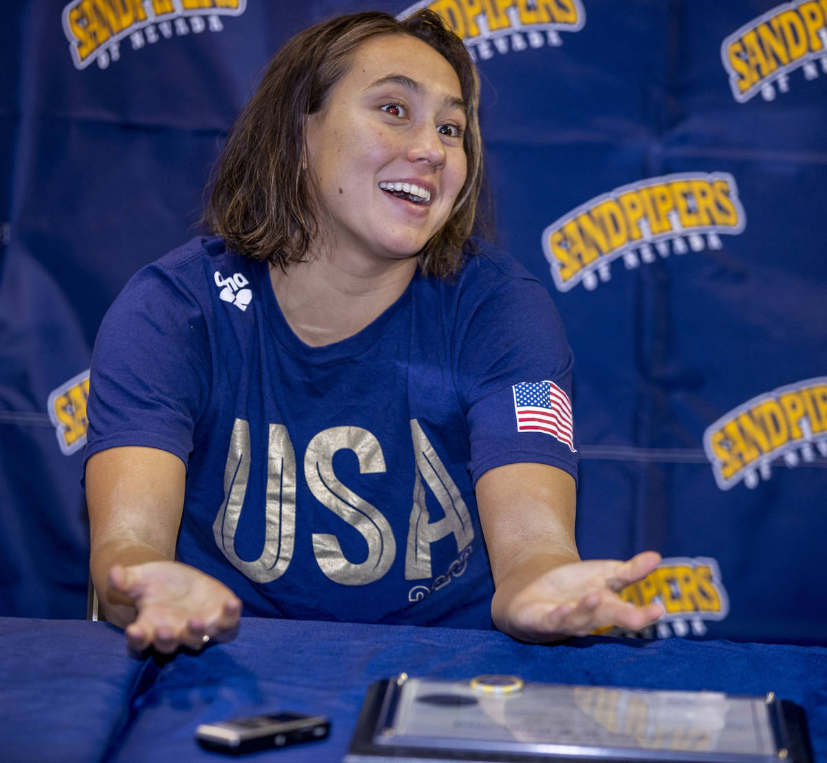 Sandpipers of Nevada Olympic swim team member Erica Sullivan answers a media question at the Bo ...