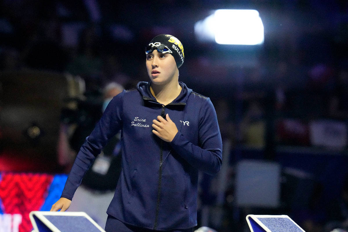 Erica Sullivan before the women's 800-meter freestyle during wave 2 of the U.S. Olympic Swim Tr ...