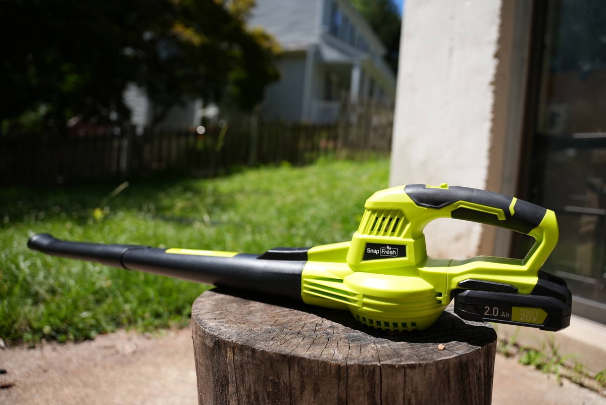 SnapFresh The 20-volt SnapFresh leaf blower is perfect for smaller areas.