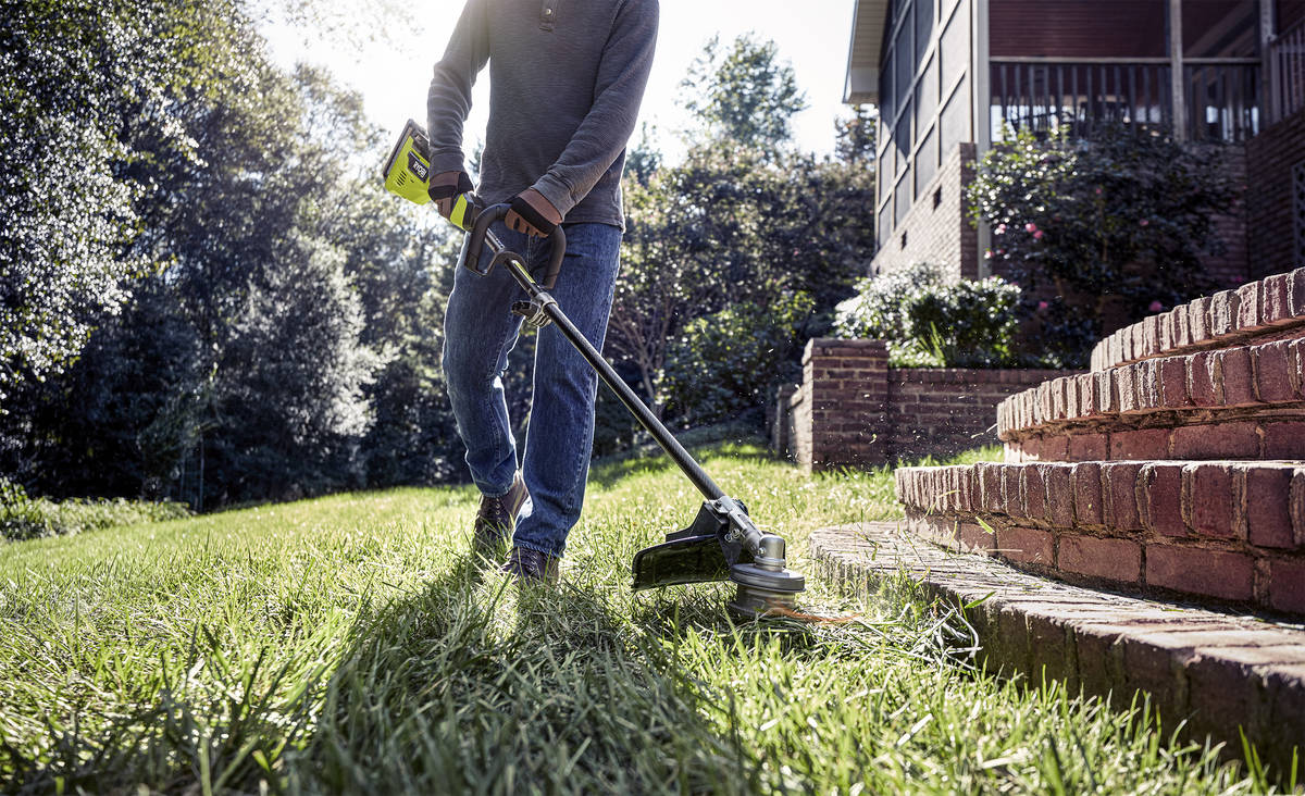 The 40-volt Ryobi brushless string trimmer is light and quiet. (Ryobi)