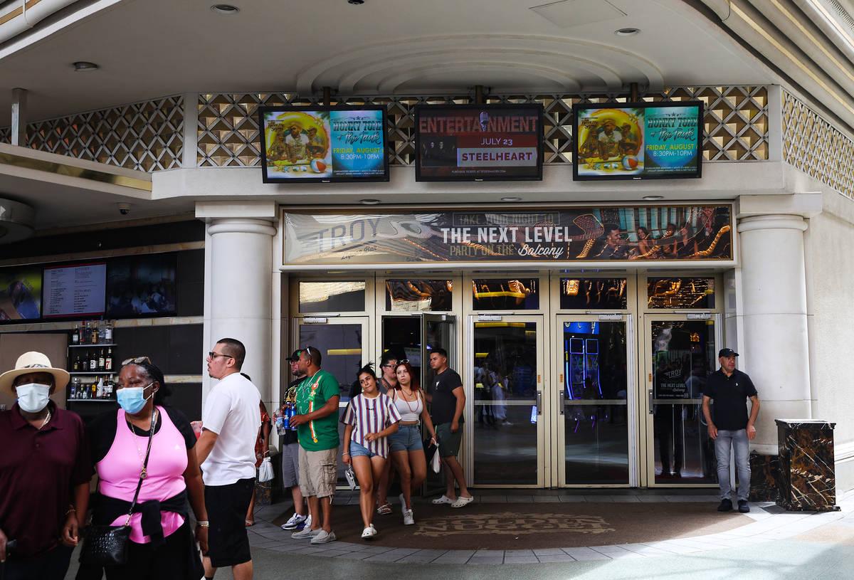 An entrance to the Golden Nugget in Las Vegas Sunday, July 18, 2021. (Rachel Aston/Las Vegas Re ...