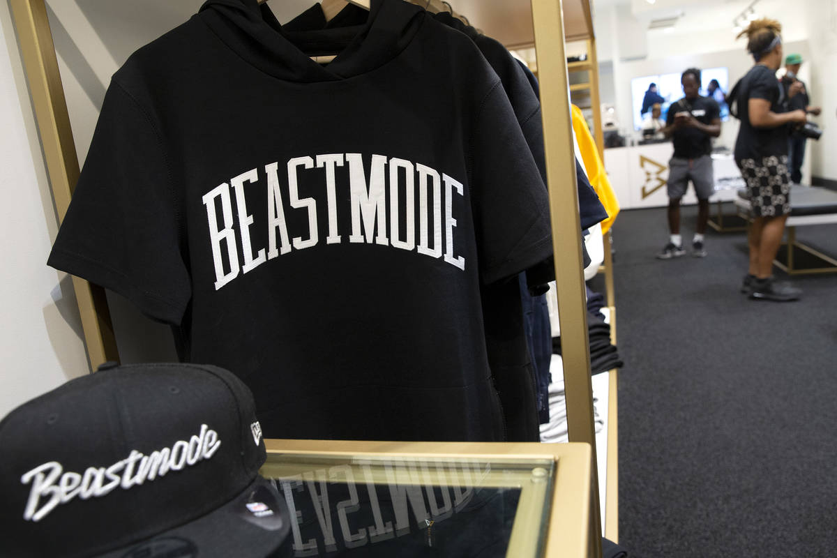 Merchandise is for sale at the opening of Beast Mode, NFL running back Marshawn Lynch's store, ...