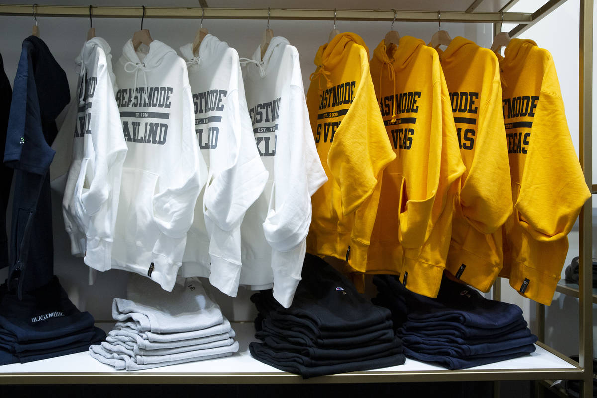 Sweatshirts and sweatpants are for sale at the opening of Beast Mode, NFL running back Marshawn ...