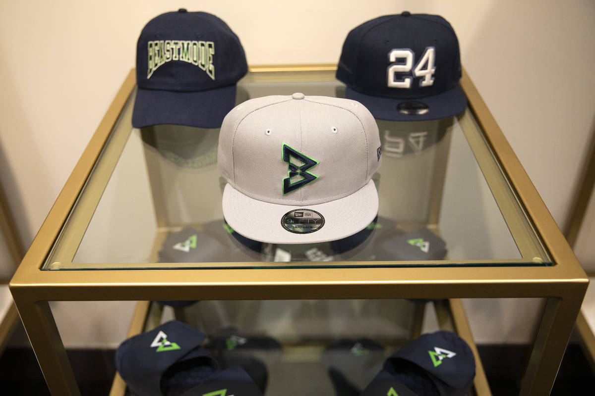 Hats are for sale at the opening of Beast Mode, NFL running back Marshawn Lynch's store, in The ...