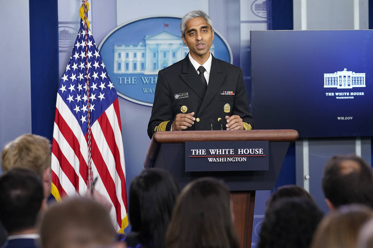 Surgeon General Dr. Vivek Murthy speaks during the daily briefing at the White House in Washing ...