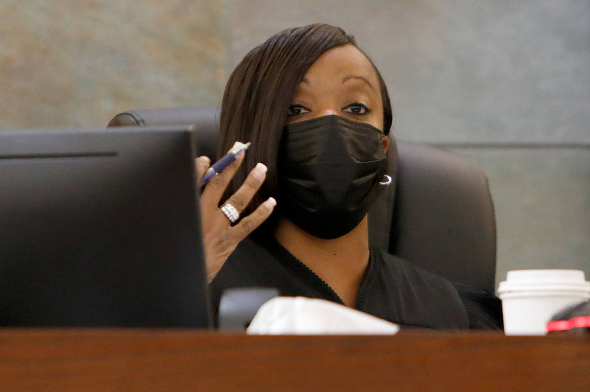 Judge Tierra Jones speaks during a bail hearing for Cadesha Bishop, center, who is charged with ...