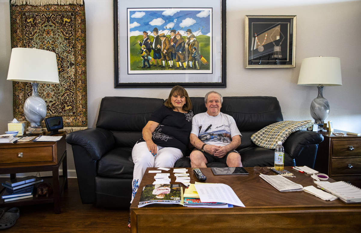 Donna Peterson, left, poses for a portrait with her husband, Byron Peterson, who has Wernicke's ...