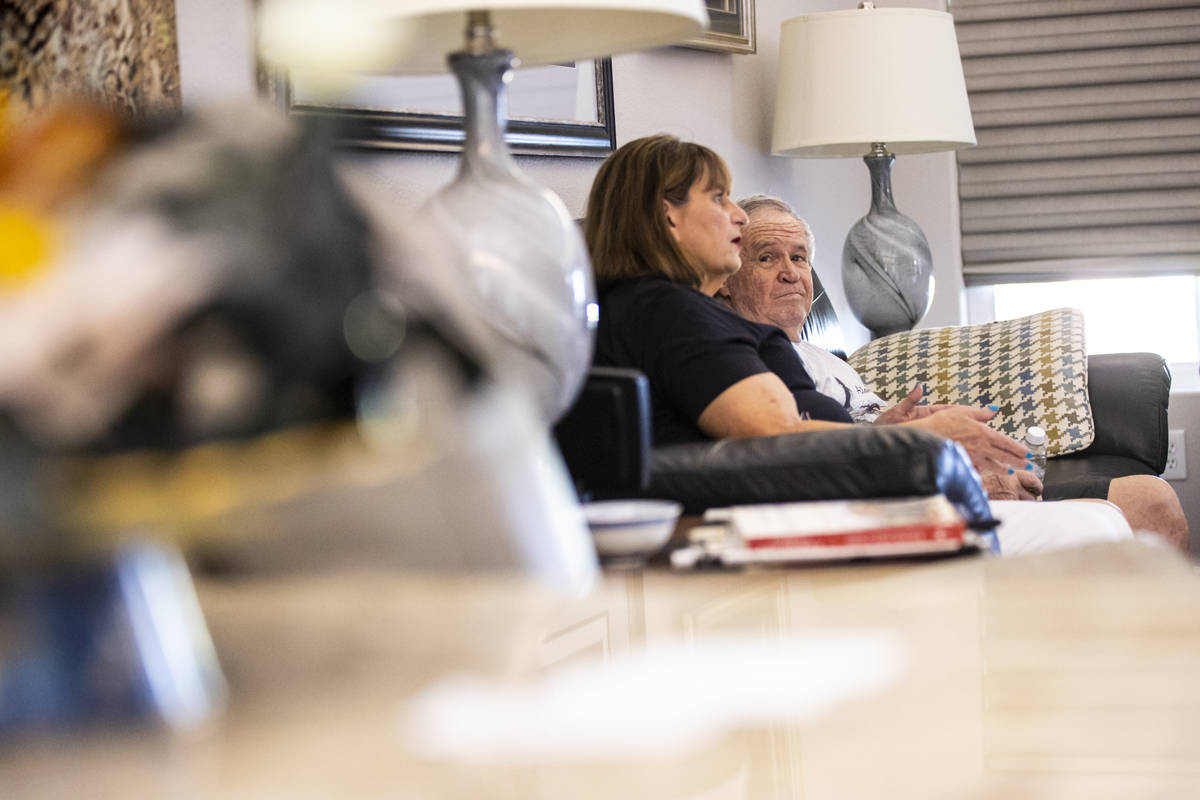 Donna Peterson, left, speaks alongside her husband, Byron Peterson, who has Wernicke's aphasia, ...
