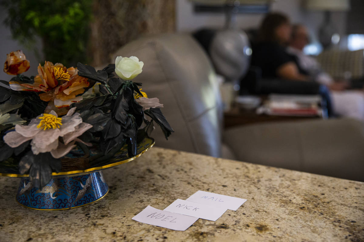 Notecards are seen near the entrance to the home of Donna Peterson and Byron Peterson, in Sun C ...