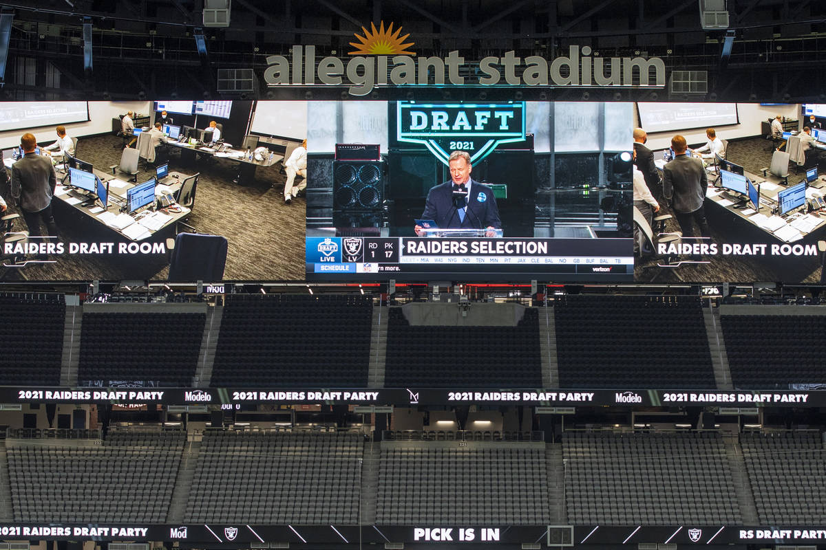 NFL Commissioner Roger Goodell announces the team's first pick during the 2021 Las Vegas Raider ...