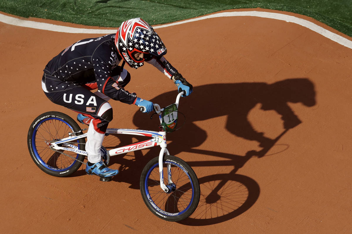 Connor Fields of the United States compete to win gold in the men's BMX cycling final during th ...