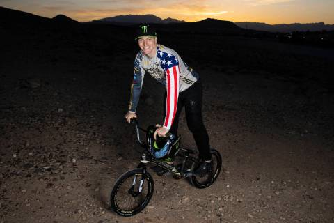 Connor Fields, professional BMX racer, poses for a photo at Olympic Sports Park, on Tuesday, Ap ...