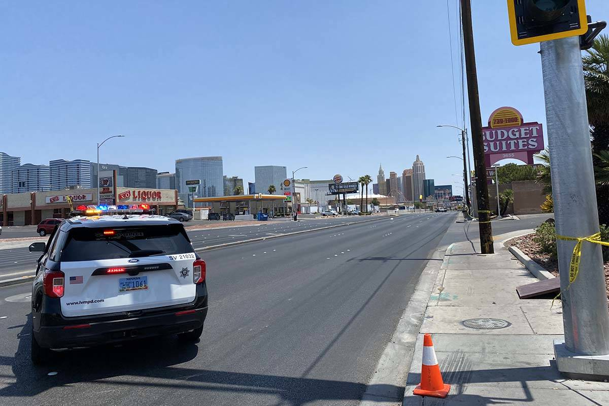 Tropicana Avenue is closed from Dean Martin Drive to Valley ViewBoulevard as Las Vegas po ...