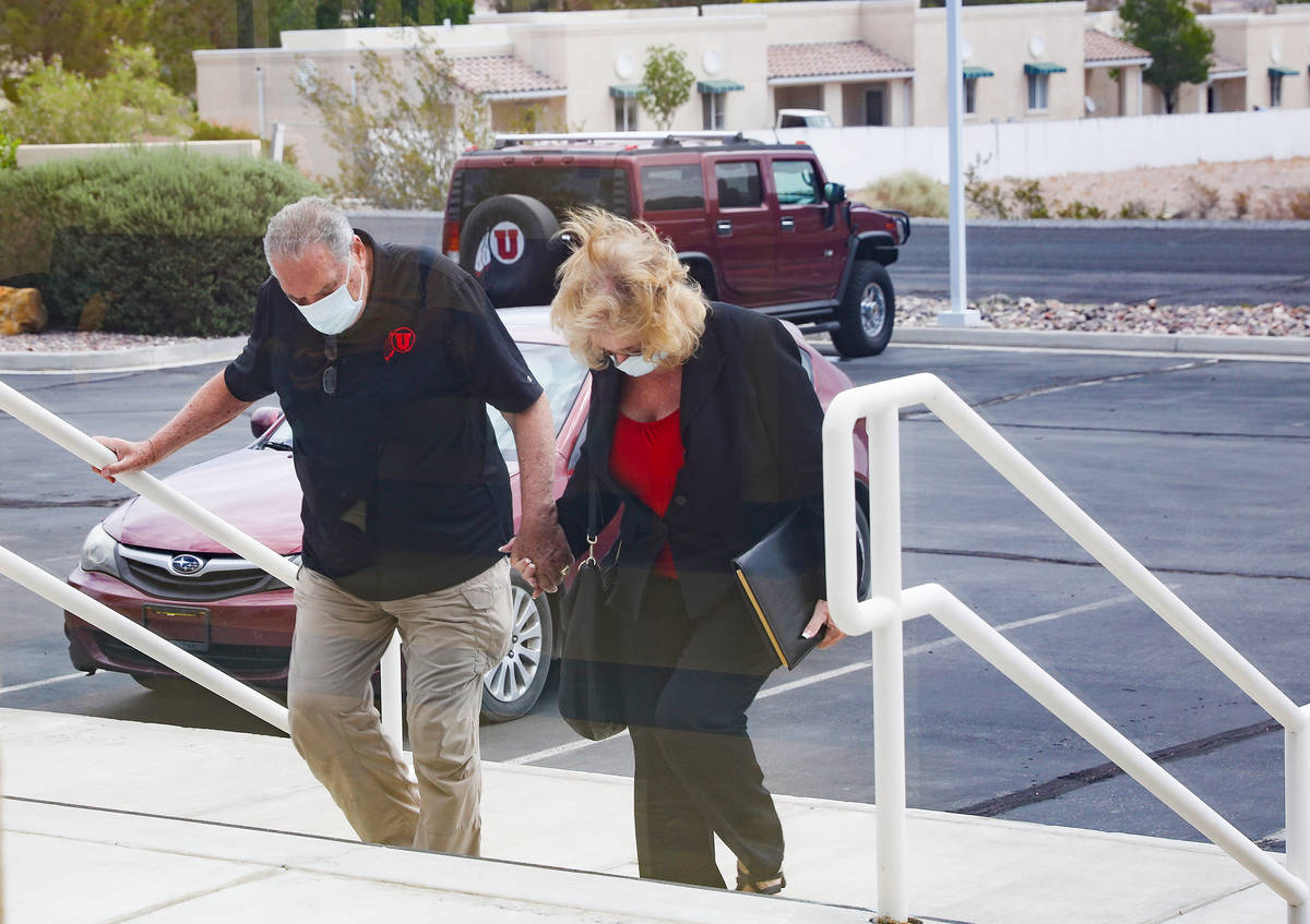 Marcel Chappuis arrives at Beatty Justice Court with his wife Patricia Chappuis on Monday, July ...