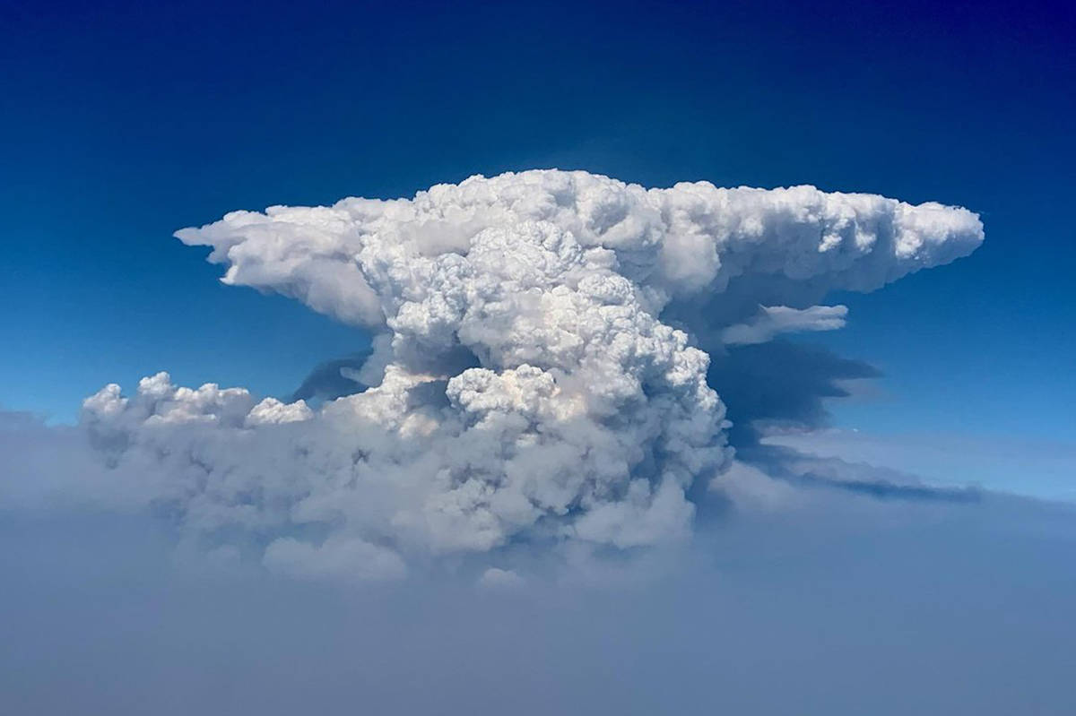 In this photo taken with a drone provided by the Bootleg Fire Incident Command, a pyrocumulus c ...