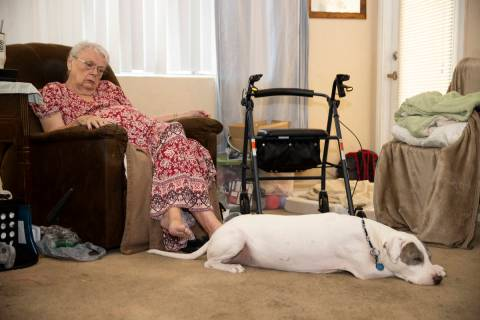 Shirley Soiset, 77, whose rent is going up by about $300 a month, with her service dog inside o ...