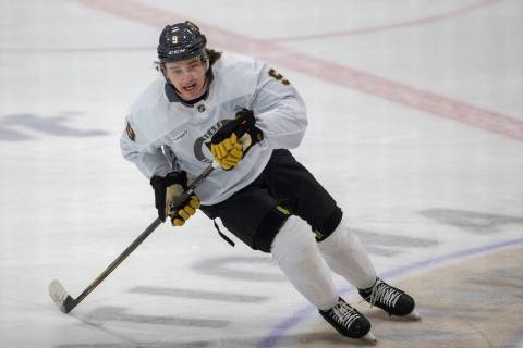 Golden Knights center Cody Glass (9) skates during training camp on Wednesday, Jan. 6, 2021, at ...