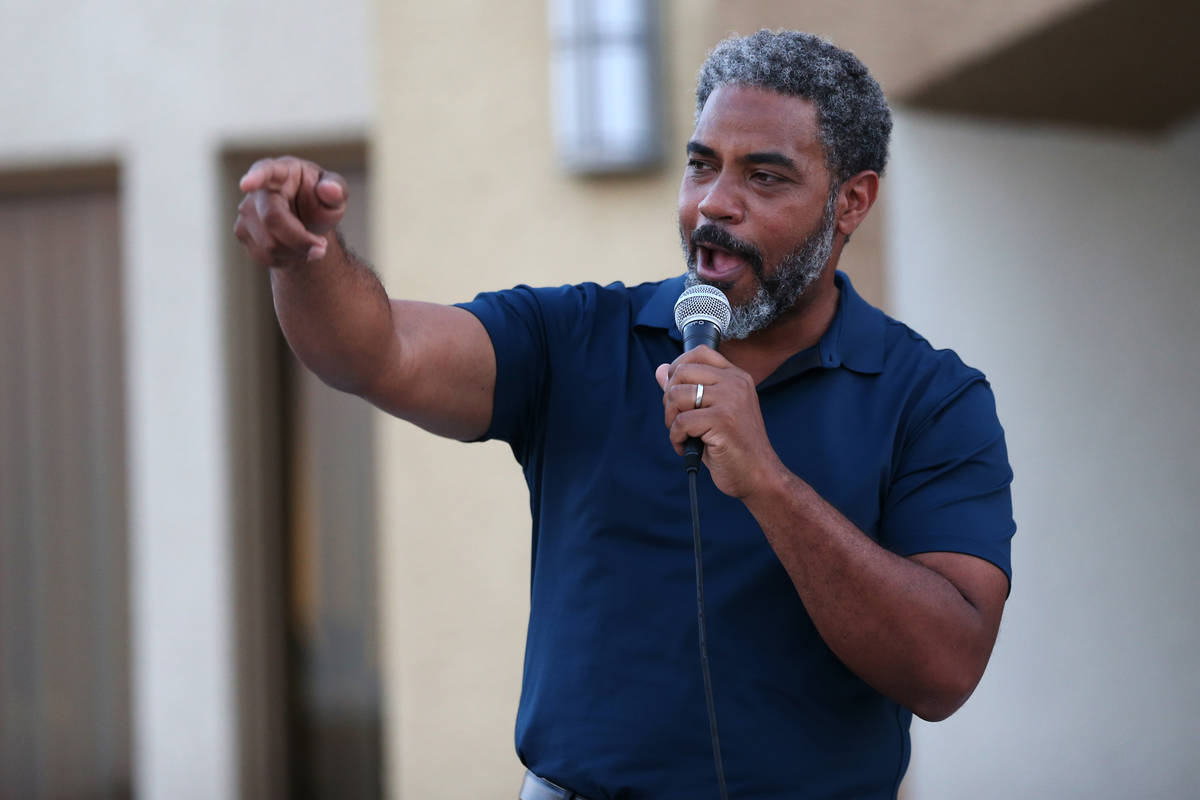 Congressman Steven Horsford speaks during a Good Trouble candlelight vigil on the anniversary o ...