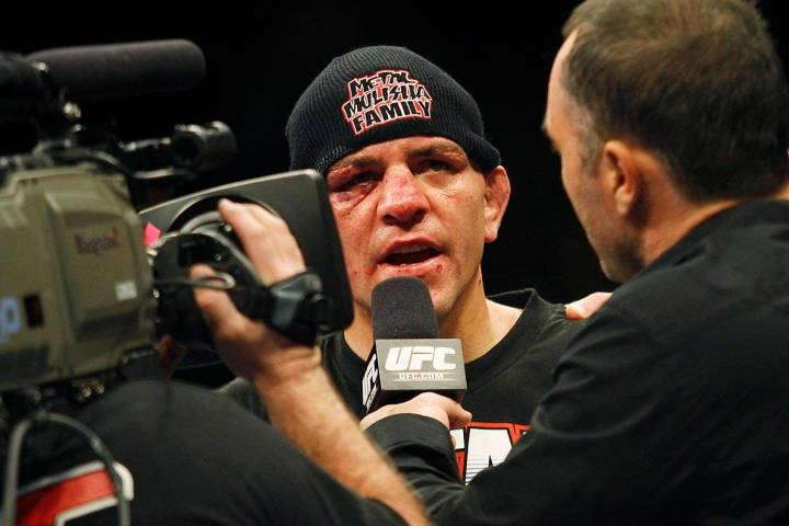 Nick Diaz addresses the crowd after defeating BJ Penn during the main event at UFC 137 at the M ...
