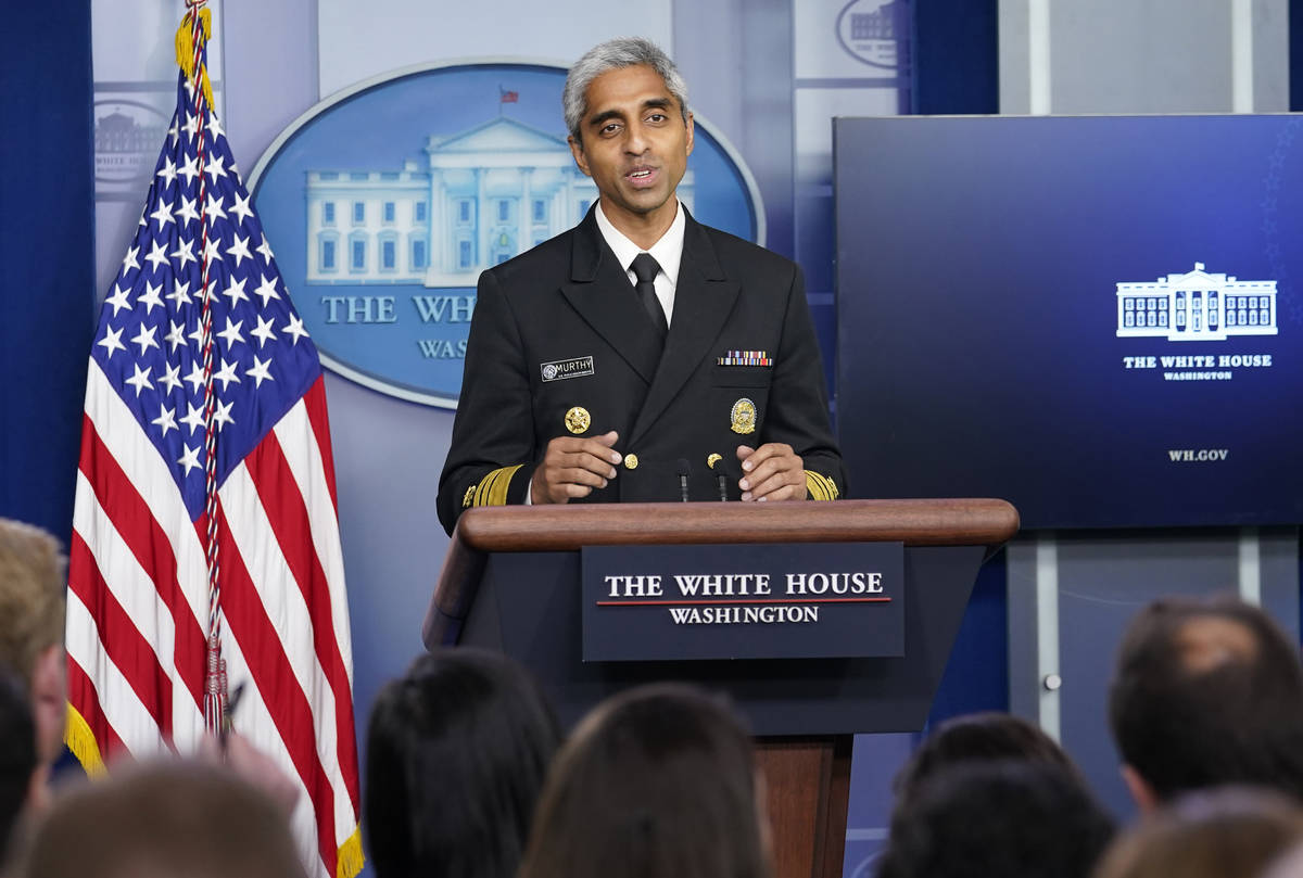 FILE - In this Thursday, July 15, 2021 file photo, Surgeon General Dr. Vivek Murthy speaks duri ...