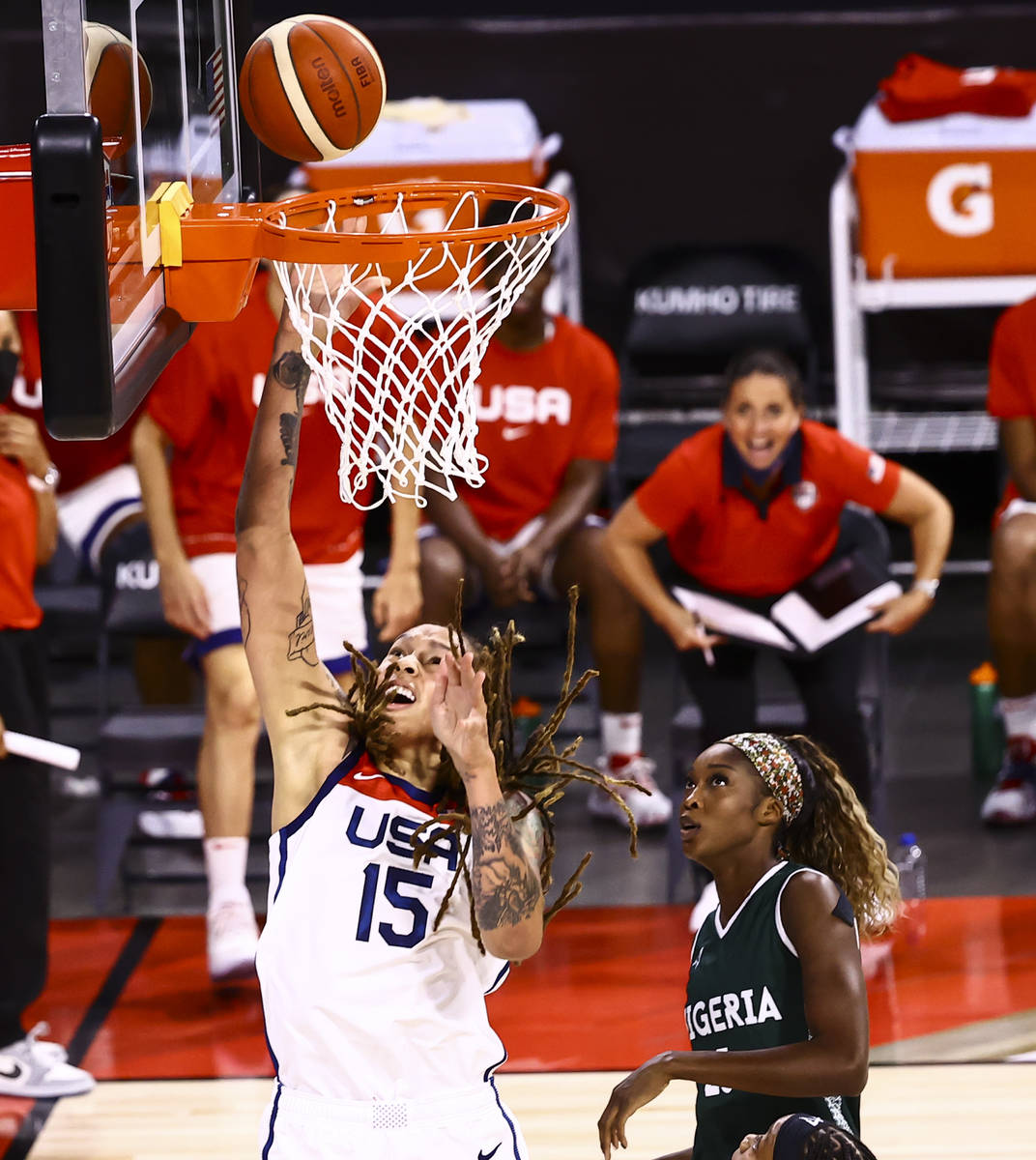 United States center Brittney Griner (15) lays up the ball in front of Nigeria forward Victoria ...