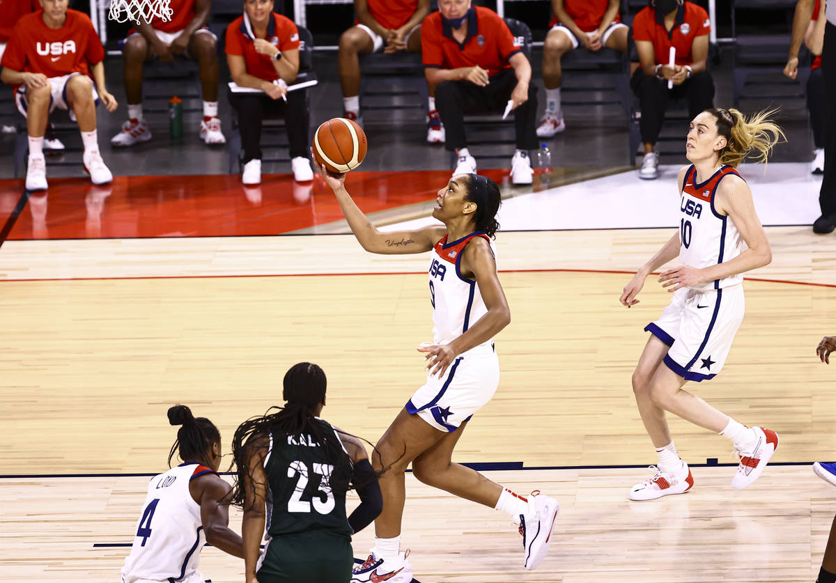 United States forward AÕja Wilson (9) looks to lay up the ball during the first half of an ...