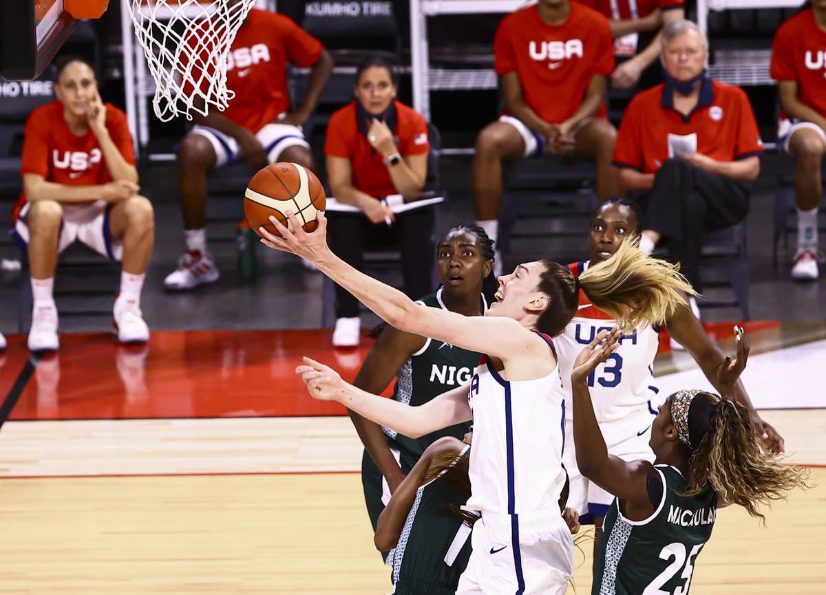 United States forward Breanna Stewart (10) drives to the basket past Nigeria forward Victoria M ...