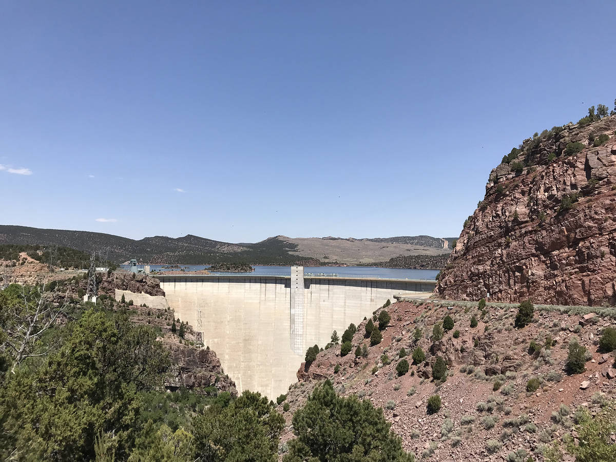The Flaming Gorge Dam, completed in 1964, impounded the Green River and created Flaming Gorge R ...