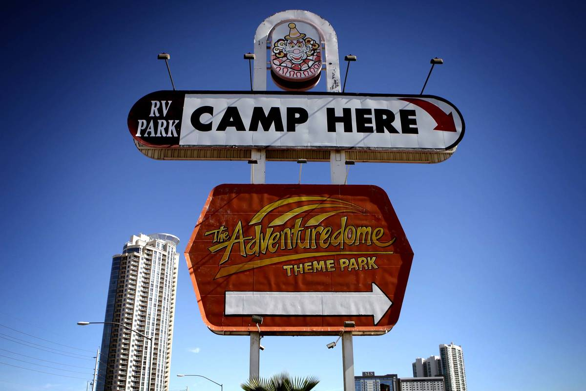 The Circus Circus RV Park sign at Sahara Avenue and Las Vegas Boulevard is seen in this Oct. 27 ...