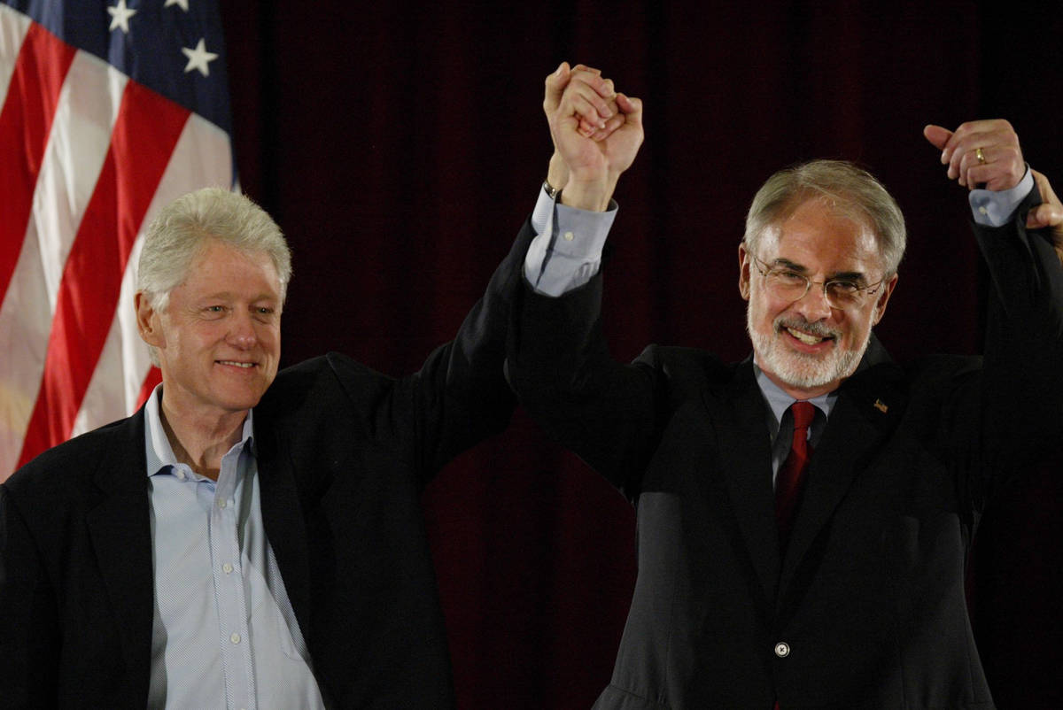 Former President Bill Clinton, left, appears with Tom Gallagher, candidate for the District thr ...