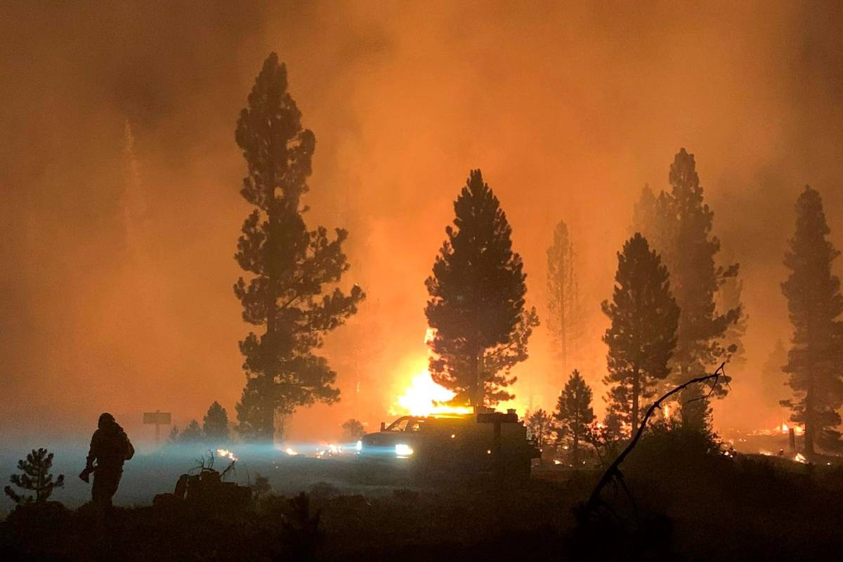 The Bootleg Fire burns at night in southern Oregon on Saturday, July 17, 2021. (Bootleg Fire In ...