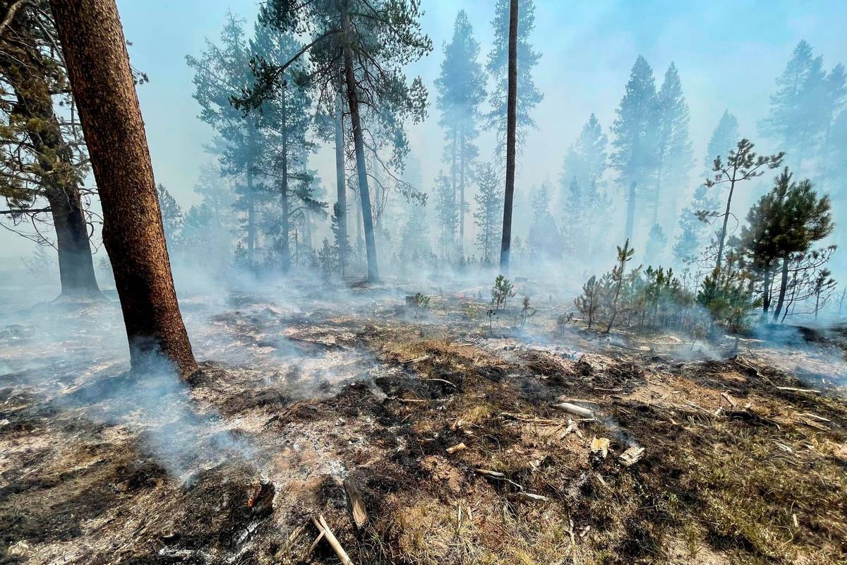 The Bootleg Fire is seen smoldering in southern Oregon, Saturday, July 17, 2021. (Bootleg Fire ...
