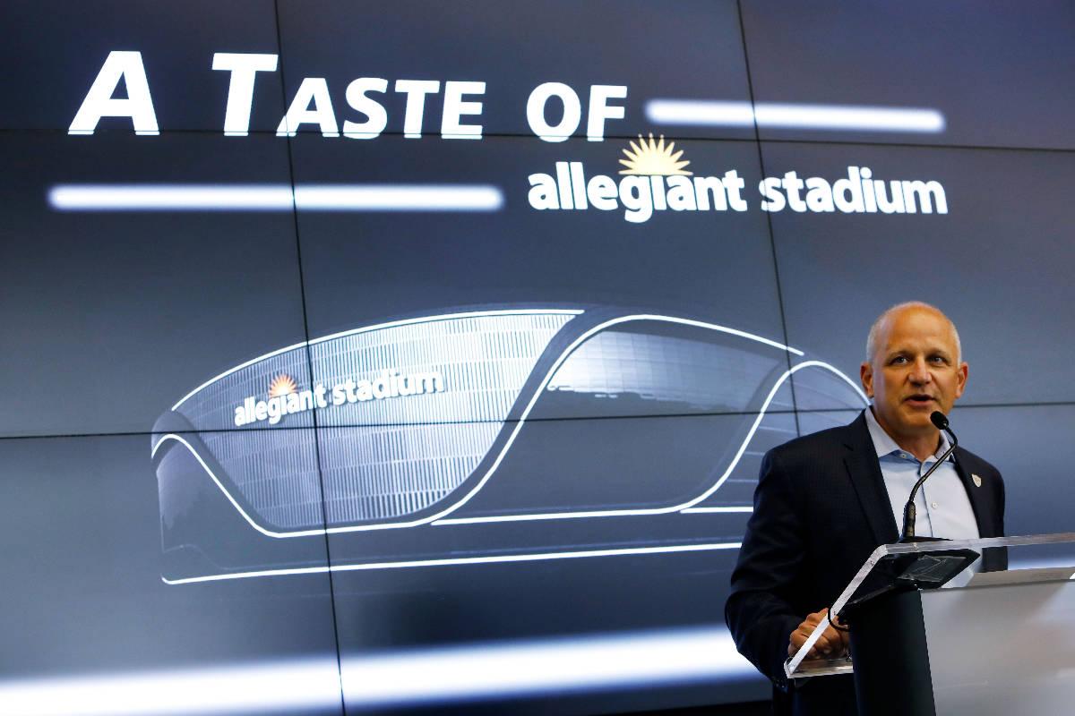 Las Vegas Raiders President Marc Badain speaks during an event of food and beverage experience ...