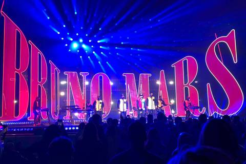 A look at Bruno Mars' stage during his performance at Park Theater on Dec. 30, 2017. Mars has s ...