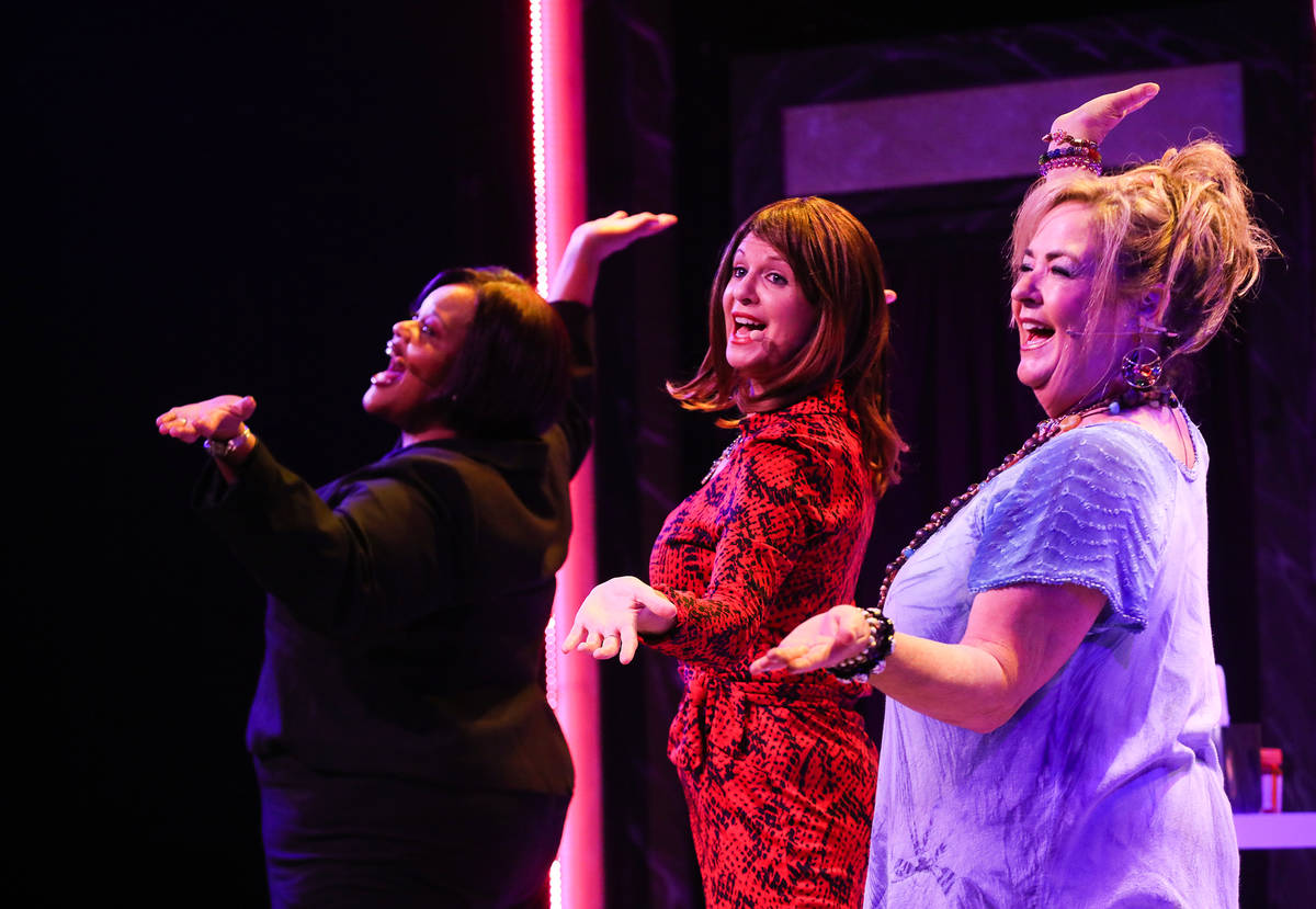 Lisa Mack performs as Professional Woman, from left, Jacquelyn Holland-Wright as Soap Star, and ...