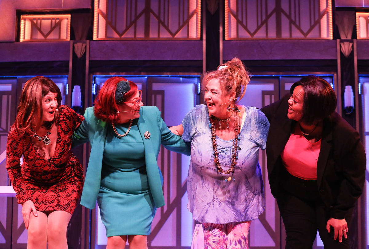 Jacquelyn Holland-Wright performs as Soap Star, from left, Cherity Harchis as Iowa Housewife, V ...