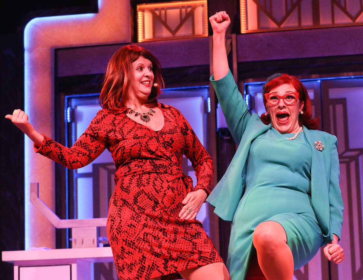 Jacquelyn Holland-Wright performs as Soap Star, left, and Cherity Harchis as Iowa Housewife, ri ...