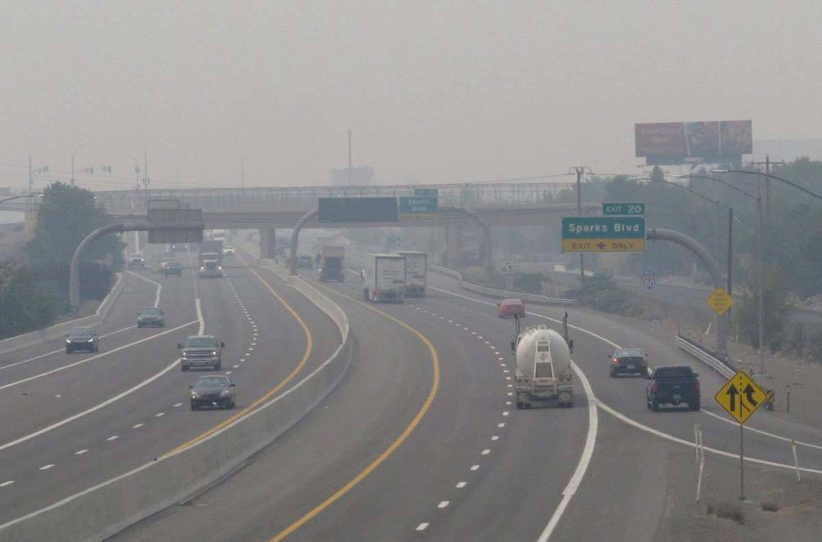 In this Aug. 19, 2020 file photo smoke from California wildfires up to 200 miles away obscures ...