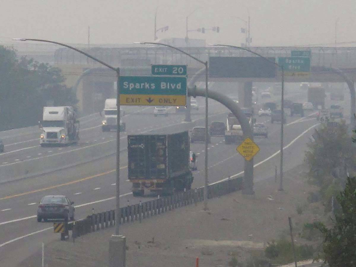 In this Aug. 19, 2020, file photo, smoke from California wildfires up to 200 miles away obscure ...