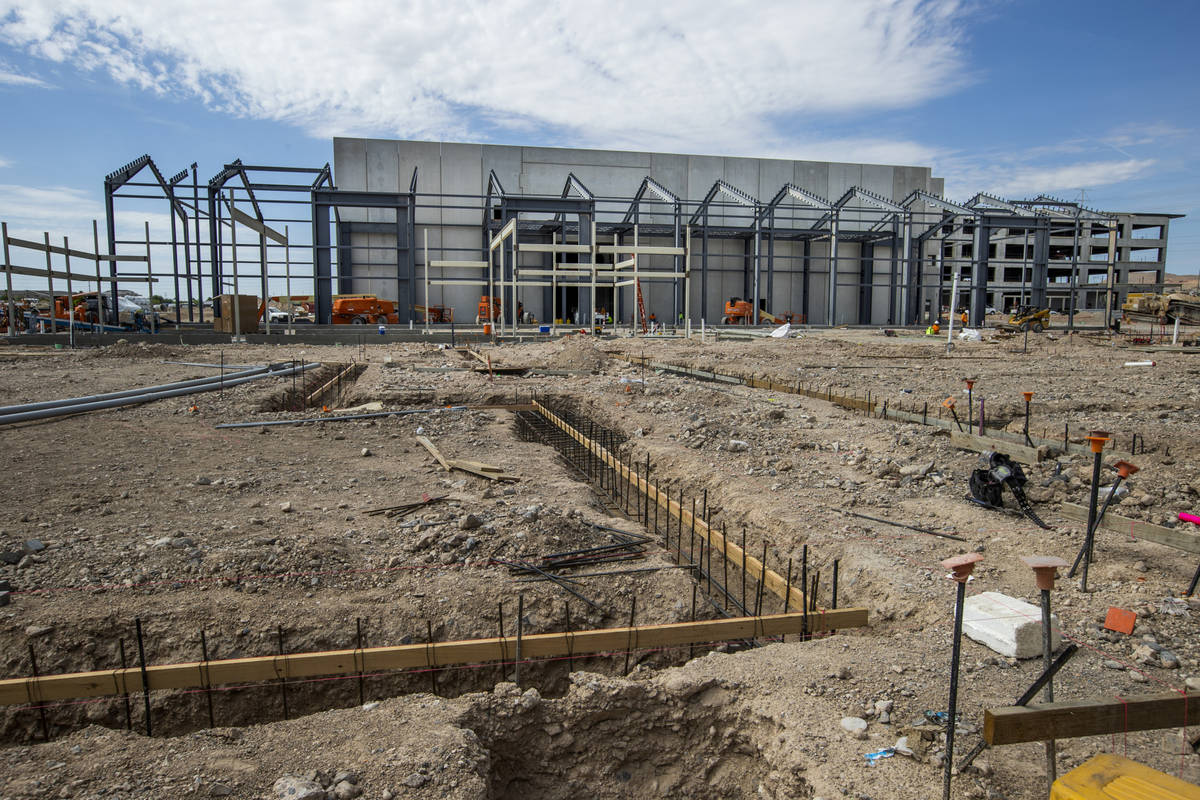 The Market Hall and other building foundations take shape at UnCommons, a mixed-use complex bei ...