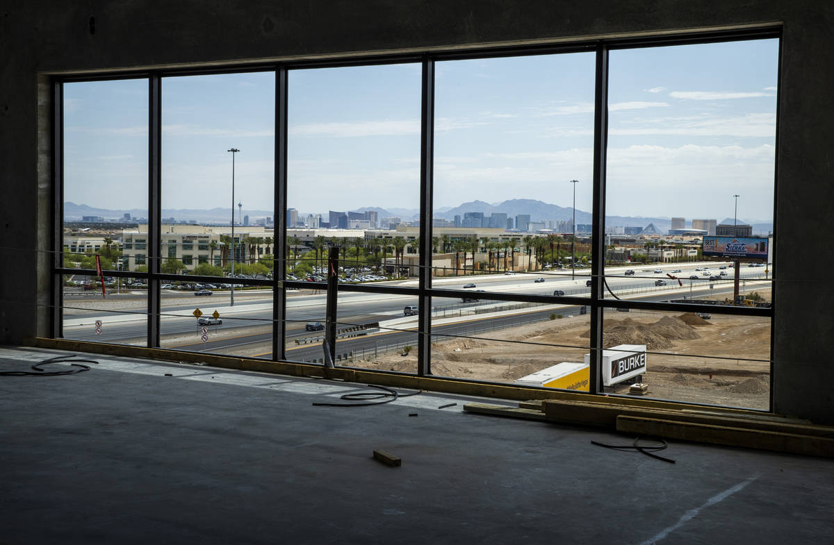 A view of the Las Vegas skyline including Strip form atop Office Building #1 on a floor to be o ...